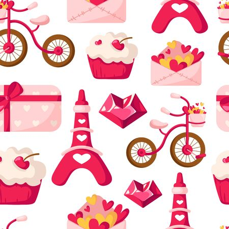 Valentine Day seamless pattern - cartoon envelope with hearts, cupcake or dessert, cute eiffel tower, pink bicycle, crystal, gift box - vector romantic background, texture for wrappingf, textile Stock Illustratie