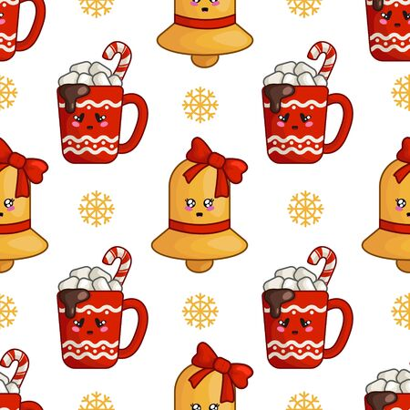 Christmas seamless pattern with cup of hot winter beverage, drink and marshmallows and golden bell with bow, endless texture for textile, scrapbook or wrapping paper, cute new year vector pattern Stock Illustratie