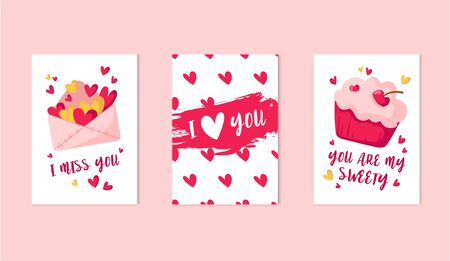 Valentine Day cards set - cartoon sweet cupcake or dessert, pink envelope for letters with hearts, lovely phrases, cute flat holiday decorations, vector illustration for print, postcard, poster Stockfoto - 132638756