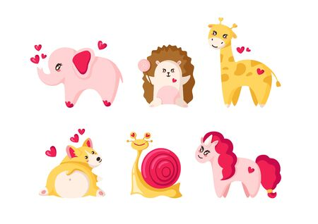 Valentine Day set - kawaii pink elephant, hedgehog with lollipop, giraffe, sweety corgi puppy, cute snail, happy unicorn - flat cartoon animals, characters - isolated vector on white Stock Illustratie