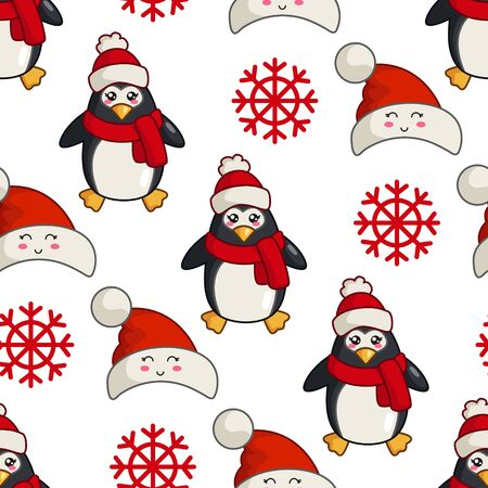 Christmas seamless pattern with kawaii cute penguin or polar bird, snowflake, cartoon character in santa hat, texture for textile, scrapbook or wrapping paper, cute new year decoration - vector