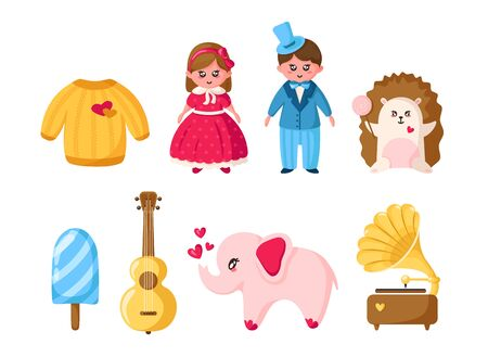 Valentine Day set, cartoon kawaii girl and boy in retro clothes, cute animals - hedgehog elephant, romantic stuff - sweater, ice cream, guitar, gramophone - isolated vector on white Stockfoto - 133287312