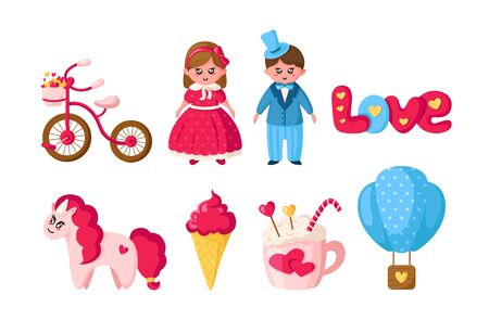 Valentine Day set, cartoon kawaii girl and boy in retro clothes, cute pink unicorn, romantic stuff - ice cream, hot air balloon, cocoa cup, tettering love, bicycle, hearts - isolated vector on white