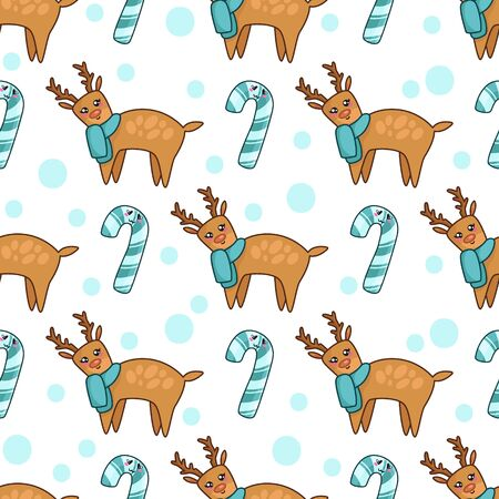 Christmas seamless pattern with kawaii reindeer in blue scarf, candy cane or sweet lollipop and dots. Cute winter animal. Texture for textile, scrapbook or wrapping paper, new year decoration - vector Stock Illustratie