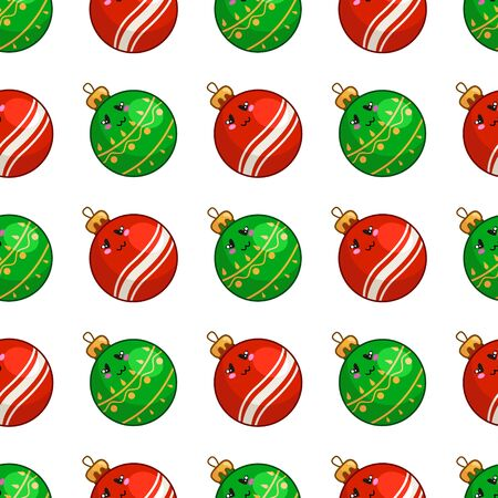 Christmas seamless pattern with kawaii smiling christmas decorative red and green glass balls, endless texture for print, textile, scrapbook or wrapping paper, new year background - vector