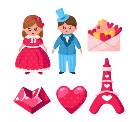 Valentine Day set, cartoon kawaii girl and boy in retro clothes, cute romantic stuff - crystal heart, envelope with hearts, tiffel tower. Pink and blue colors, isolated vector elements on white