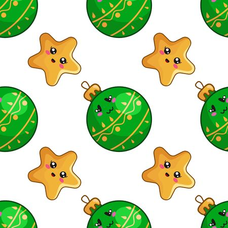 Christmas seamless pattern with kawaii smiling christmas decorative green glass balls and stars, endless texture for print, textile, scrapbook or wrapping paper, new year background - vector Stock Illustratie