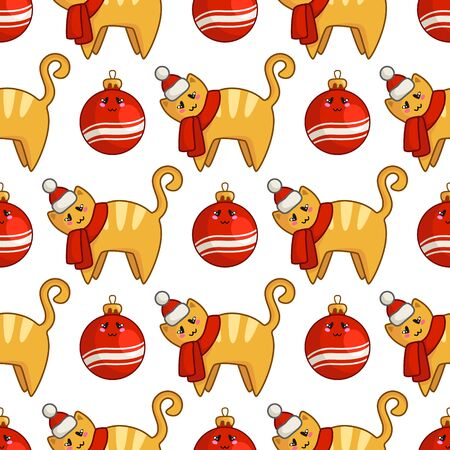Christmas seamless pattern with kawaii red cat or kitten dressed in santa hat and scarf, decorative balls. Endless texture for textile, scrapbook or wrapping paper, cute new year decoration - vector
