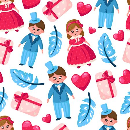 Valentine Day seamless pattern - cartoon kawaii girl and boy in retro style clothes, blue feather, pink gift box, heart - vector romantic background, texture for wrapping, textile