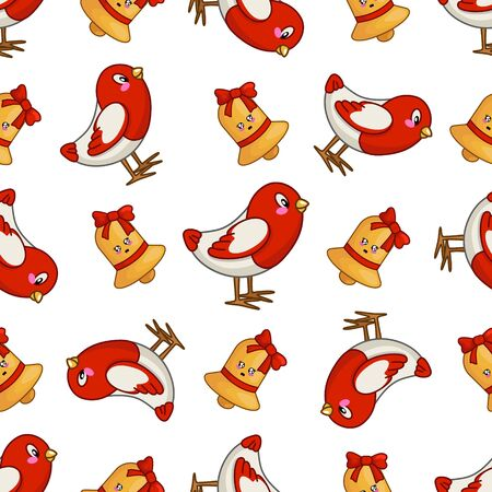 Christmas seamless pattern with kawaii little bird bullfinch and golden jingle bell with red ribbon, bow, endless texture for print, textile, scrapbook, wrapping paper, new year background - vector Stockfoto - 133287318