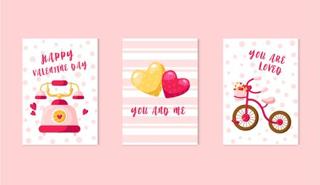 Valentine Day cards - cartoon retro phone, yellow and pink hearts, bicycle, lovely phrases, cute flat holiday romantic decorations, vector illustration for print, postcard, poster
