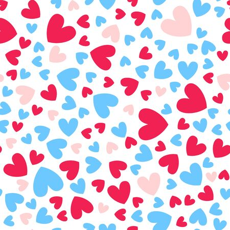 Valentine Day abstract seamless pattern - cartoon red, pink and blue hearts on white, geometric shapes, vector romantic background, endless texture for wrapping, textile, scrapbook Stockfoto - 133287349