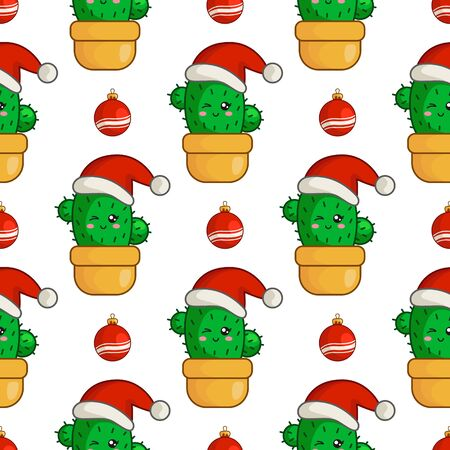 Christmas seamless pattern with kawaii smiling cactus or succulent in santa hat,  decorative balls, endless texture for print, textile, scrapbook or wrapping paper, new year background - vector Stock Illustratie