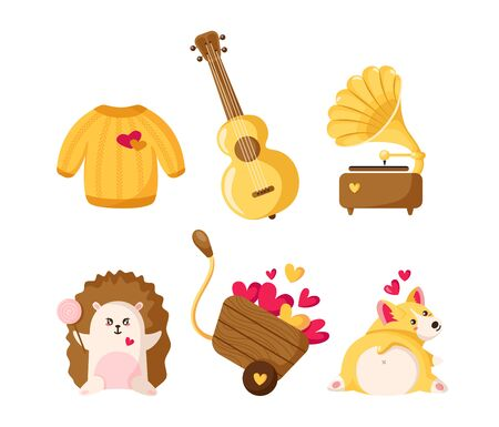 Valentine Day cartoon corgi puppy, hedgehog, sweater, cart with hearts, guitar and  gramophone, cute flat cartoon characters and holiday decorations, isolated vector icons Stock Illustratie