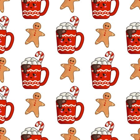 Christmas seamless pattern with cup of hot winter beverage or drink and marshmallows and gingerbread man, endless texture for textile, scrapbook or wrapping paper, cute new year vector pattern Stock Illustratie