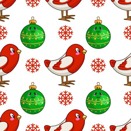 Christmas seamless pattern with kawaii little bird bullfinch, snowflakes and christmas decorative balls, endless texture for print, textile, scrapbook, wrapping paper, new year background - vector