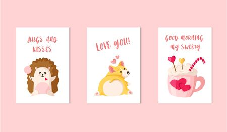 Cartoon corgi puppy, kawaii hedgehog with lollipop, cozy hot beverage in pink cup, candy cane - Valentine Day cards set, cute flat holiday decorations, vector illustration for print, postcard, poster Çizim