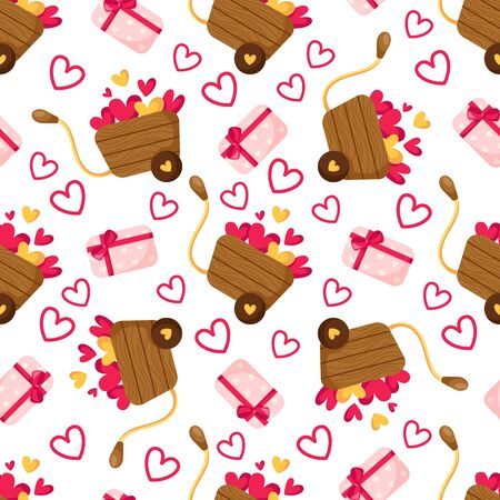 Valentine Day seamless pattern - cartoon pink gift box with bow, little hearts, wooden cart or wheelbarrow, holiday romantic mood, vector background or texture for wrapping, textile