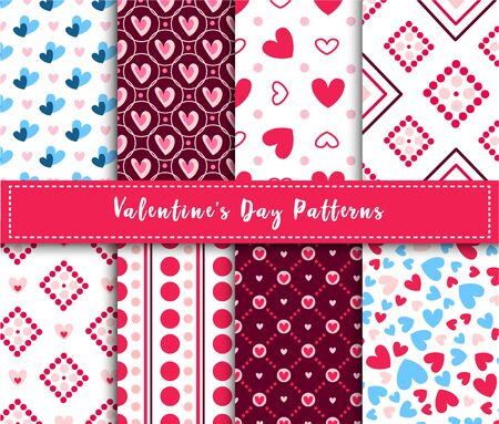 Valentine Day abstract seamless pattern set - cartoon pink and blue hearts on white, stripes, geometric shapes, vector romantic background, texture for wrapping, textile, scrapbook
