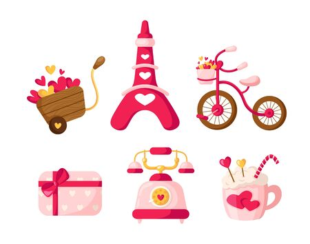 Valentine Day cartoon retro phone, gift box with bow, beverage mug, pink bicycle, funny eiffel tower, cart with hearts, cute flat cartoon holiday decorations, isolated vector icons on white