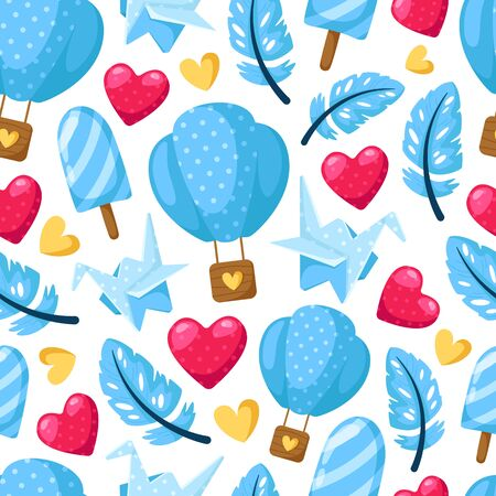 Valentine Day seamless pattern - cartoon blue hot air balloon, feather, hearts, paper cranes on white, gentle holiday ornament or decor - vector romantic background, texture for wrapping, textile Stockfoto - 133287356