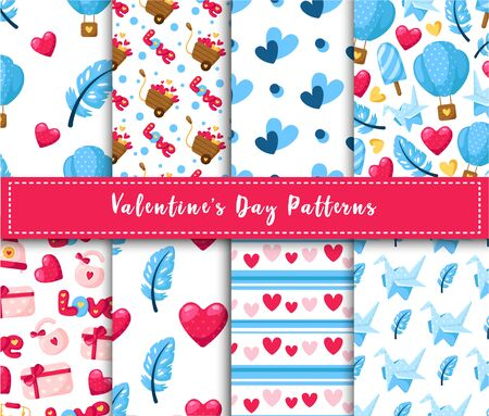Valentine Day seamless pattern set - cartoon air balloon, paper crane, feather, gift box, lock, lettering love, hearts, retro phone, abstract texture, romantic vector background for wrapping, textile