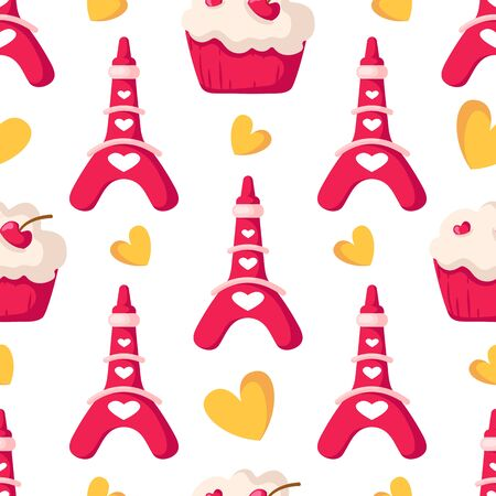 Valentine Day seamless pattern - cute stylized eiffel tower, sweet cupcakes or dessert, yellow hearts, romantic holiday mood, vector background, endless texture for wrapping, textile, fabric print