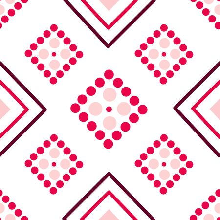 Valentine Day abstract seamless pattern - simple red and pink polka dot and rhombus on white, geometric shapes, vector romantic background, texture for wrapping, textile, scrapbook