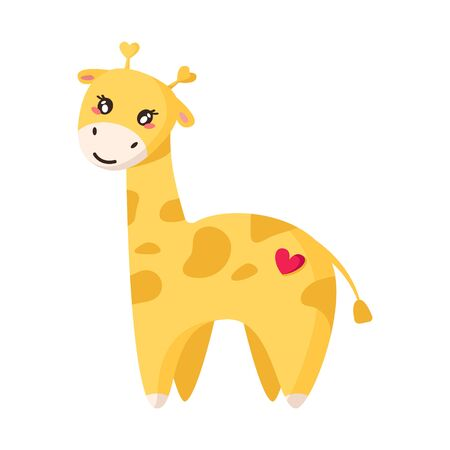 Valentine Day cartoon card - kawaii giraffe with cute face, happy flat character, isolated cartoon object on white, kids illustration for postcard, print - vector Stock Illustratie