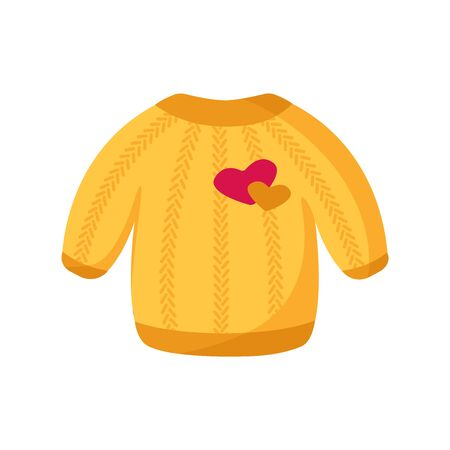 Cute yellow sweater for Valentine Day card - cartoon warm pullover, clothes with heart patch, isolated cartoon object on white, kids illustration for postcard, print - vector Stockfoto - 132963621