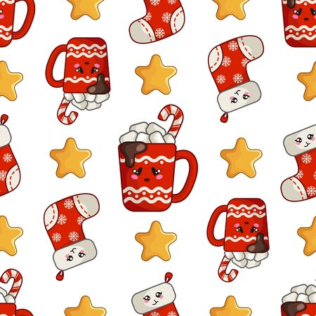 Christmas seamless pattern with cup of hot winter beverage or drink, marshmallows, red sock or stocking, stars, endless texture for textile, scrapbook or wrapping paper, cute new year vector pattern Stock Illustratie