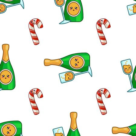 Christmas seamless pattern with champagne, celebratory drink - bottle sparkling wine, endless texture for textile, scrapbook or wrapping paper, cute new year decoration - vector