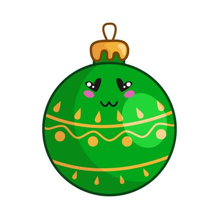 Kawaii Christmas green and golden toy ball for christmas tree decorating, cute emoji face character, new year tradition decoration for home - isolated colored illustration on white, vector icon Stock Illustratie