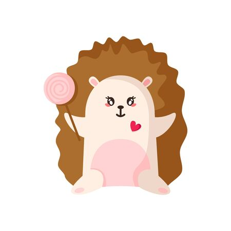 Kawaii hedgehog for Valentine Day card, cute cartoon flat character with lollipop, happy adorable magic animal, isolated object on white, kids illustration for postcard, print - vector