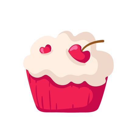 Valentine Day cartoon cake or cupcake with cream and cherry - cute flat image, sweet food or holiday romantic dessert, isolated cartoon object on white, illustration for card, print - vector Stockfoto - 132966404