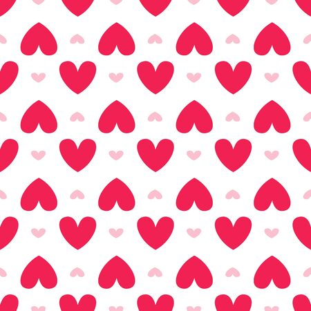 Valentine Day abstract seamless pattern - cartoon red and pink hearts on white, geometric shapes, vector romantic background, endless texture for wrapping, textile, scrapbook