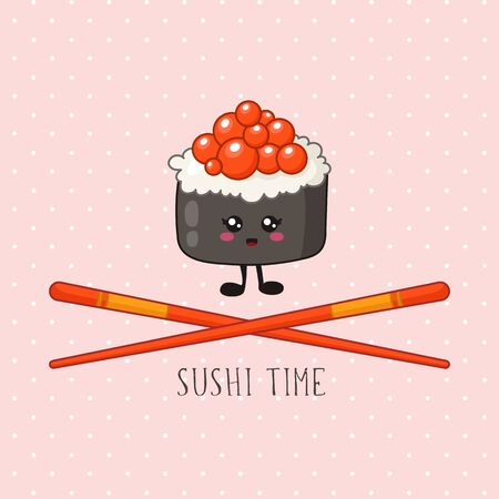 Kawaii sushi, roll and chopsticks - banner, traditional Japanese or Asian cuisine and food, illustration for social networks for restaurant, bar, cartoon emoji, manga style - vector Stock Illustratie