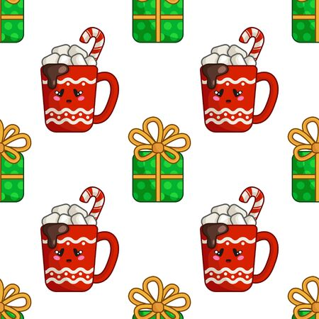 Christmas seamless pattern with cup of hot winter beverage or drink and marshmallows, green gift box with bow, endless texture for textile, scrapbook or wrapping paper, new year vector pattern Stock Illustratie