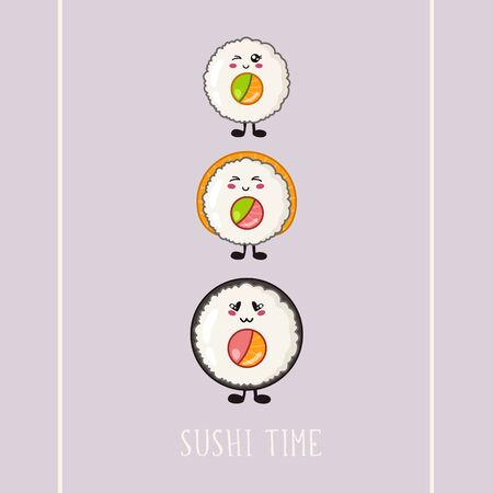 Kawaii sushi, roll - banner on colored background, traditional Japanese or Asian cuisine and food, illustration for social networks for restaurant, bar, cartoon emoji, manga style - vector Vettoriali