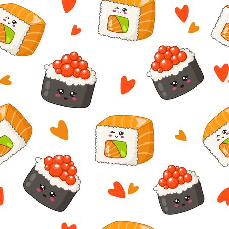 Kawaii sushi, sashimi and rolls - seamless pattern or background, cartoon emoji manga style, traditional Japanese or Asian cuisine and food isolated on white - vector for wrapping, textile