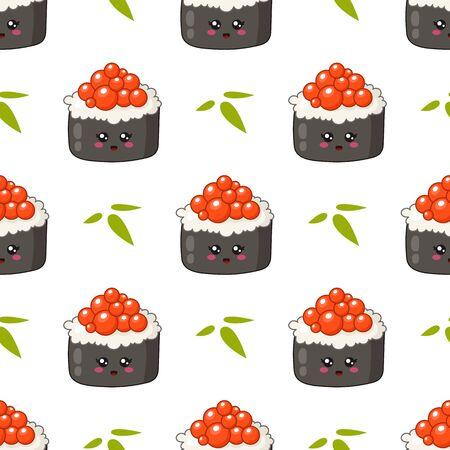 Kawaii sushi, sashimi et rouleaux - motif ou arrière-plan harmonieux, style manga emoji de dessin animé, cuisine traditionnelle japonaise ou asiatique et nourriture isolée sur blanc - vecteur pour emballage, textile