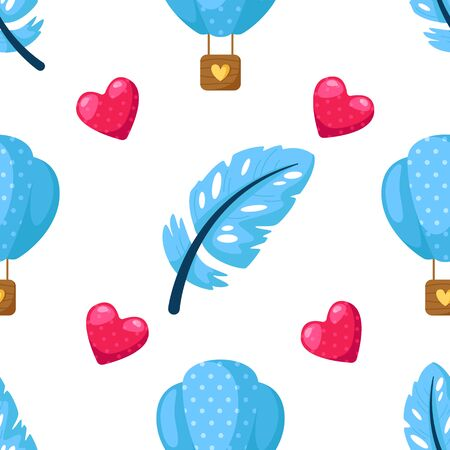 Valentine Day seamless pattern - cartoon feathers, hot air balloon, pink hearts on white, gentle lovely holiday ornament or decor - vector romantic background, texture for wrapping, textile, print