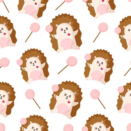 Valentine Day seamless pattern - little hedgehog with pink lollipop or candy, forest animal, cute cartoon character - vector romantic background, endless texture for wrapping, textile, print