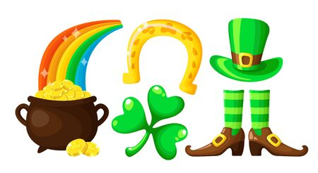 Saint Patricks Day cartoon shamrock, horseshoe, leprechaun pot with gold coins, rainbow, bowler hat and shoes, cute holiday symbols in green colors, vector set isolated on white Stock Illustratie