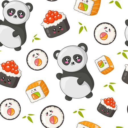 Kawaii sushi, sashimi and rolls - seamless pattern or background, cartoon emoji, manga style, traditional Japanese or Asian cuisine and food isolated on white - vector for wrapping, textile