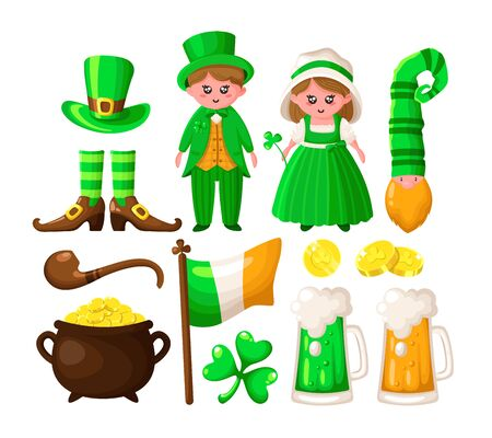 Saint Patricks Day cartoon shamrock, leprechaun, a pot of gold coins, cute boy and girl in green retro costumes, smoking pipe, bowler hat, beer or ale, vector set isolated on white
