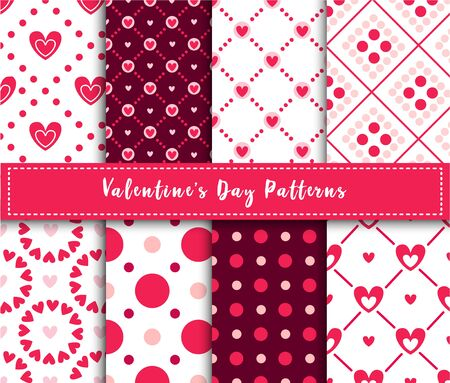 Valentine Day abstract seamless pattern set - cartoon pink and red hearts on white, stripes,  geometric shapes, vector romantic background, endless texture for wrapping, textile, scrapbook