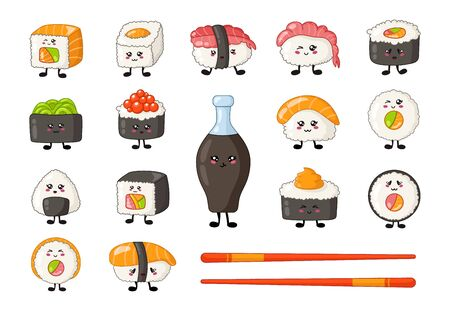 Kawaii sushi, sashimi and rolls, chopsticks and soy sauce, cartoon smiling characters, emoji, manga style, traditional Japanese or Asian cuisine and food isolated on white - vector