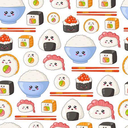 Sushi kawaii, sashimi et petits pains - motif ou arrière-plan harmonieux, emoji de dessin animé, style manga, cuisine traditionnelle japonaise ou asiatique et nourriture isolée sur blanc - vecteur pour emballage, textile Vecteurs