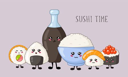 Kawaii sushi, rolls, sashimi - composition or set on white background, Japanese or Asian cuisine and food, banner for social networks for restaurant, bar, cute cartoon emoji, manga style